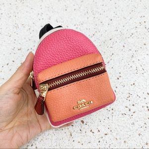 NWT Authentic Coach Colorblock Leather Key Bag Fob